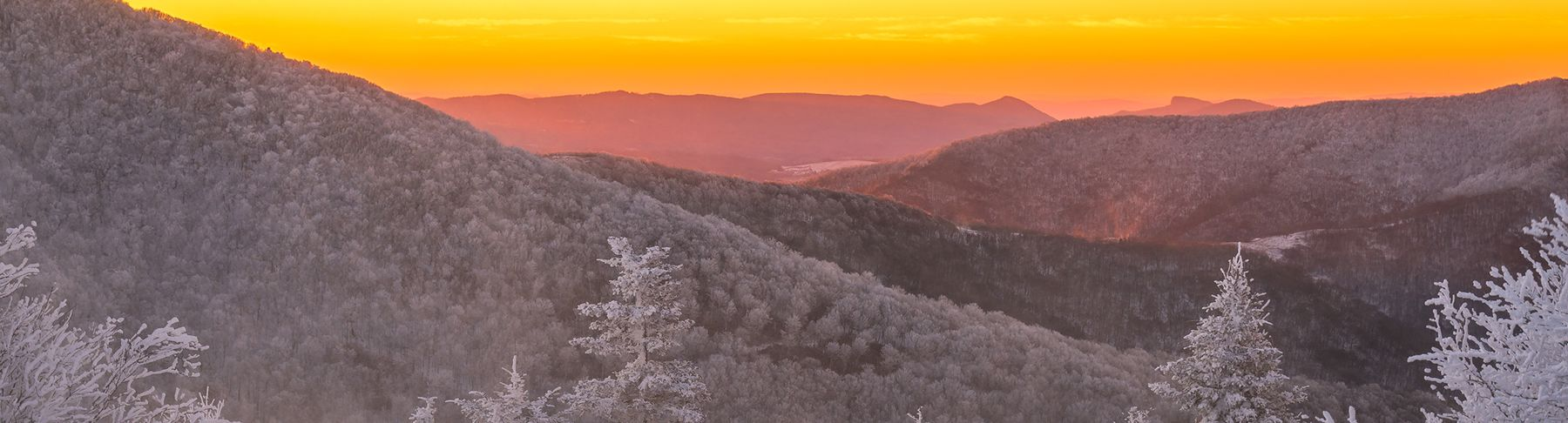 Winter Sunset in the Blue Ridge Mountains