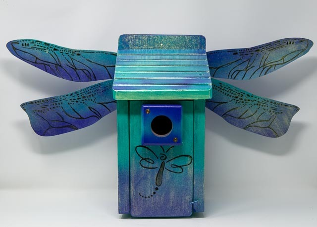 birdhouse with dragonfly wings
